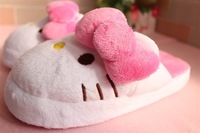 2014 hot sale FREE SHIPPING cotton indoor shoe flat with big bow plush pink hello kitty slippers for women girl the winter warm