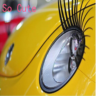 2 PCS  New Fashion Cool Universa Black REAL Original Car Headlight Eyelashes Car Decorate Accessories Cute Car Headlight sticker
