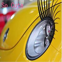 2 PCS  New Fashion Cool Universa Black REAL Original Car Headlight Eyelashes Car Decorate Accessories Cute Car Headlight sticker