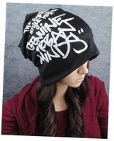 Free shipping 1 pcs new winter graffiti letters Skullies Beanies hats men and women knit caps multi-color