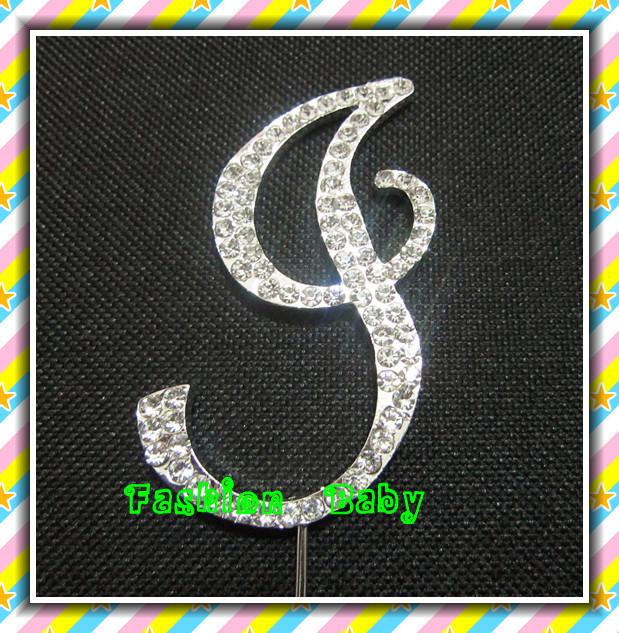 rhinestone letter cake topper rhinestone monogram(China (Mainland))