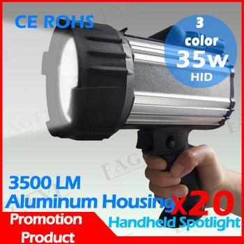 20 Pcs 35w hid portable spotlight, free shipping, 55w xenon camping hunting marine boat hand held hunting spotlight