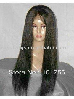 Natural color Italian yaki style 100% Indian vigin hair full lace wig