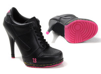 Free Shipping !2014 new  High Heel sport Shoes Design with Tag Women  and high heels boot  eur size :36-41 black/pink
