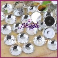 Free Shipping! 2,000pcs/Lot, 10mm Good Quality Crystal Clear Non-hotfix / Glue on Flat Back Acrylic  Rhinestones