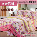 Hello kitty Queen size 100% cotton bedding set flat sheet /bedclothes doona duvet covers bedlinen1150