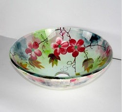 Free shipping, high quality round glass basin,no hole countertop sinks flower drawing(China (Mainland))