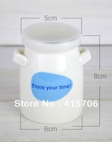 12pcs/set lovely ceramic milk bottle with two handle