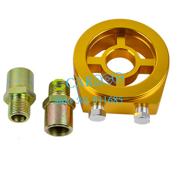 Gold Aluminum Car Oil Filter Cooler Sandwich M18/M20 Racing Plate Adapter Free Shipping 6885