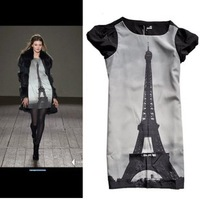 2012 Free shipping Eiffel Tower print pattern short sleeve chiffon dress S,M Wholesale & Retail