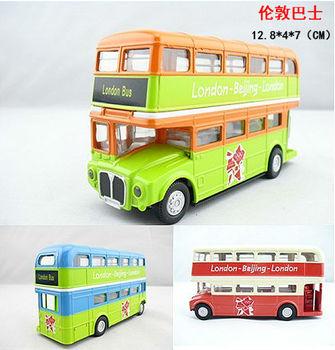 4 bus car model paintless alloy WARRIOR car double layer bus