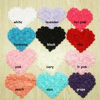 "DHL Free shipping 4.75"" chiffon heart,chiffon rose heart trim(36PCS/color 12 colors IN STOCK)"