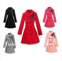 2012 winter gentlewomen double turn-down collar slim woolen outerwear medium-long women's woolen overcoat