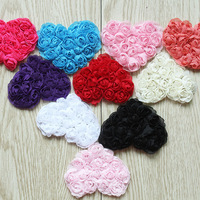 "DHL Free shipping 2.5"" chiffon heart,chiffon rose heart trim(80PCS/color 12 colors IN STOCK)"