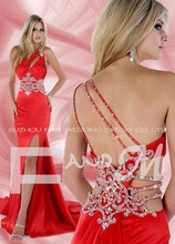 2013 Collection Gorgeous Sexy Red A-line Prom Dresses One Shoulder Beads Sequins Pleats Satin Long Party Gowns(China (Mainland))