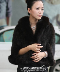 Large fox fur mink fur coat marten overcoat mink cape outerwear coffee(China (Mainland))