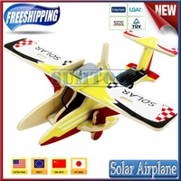 Free shipping!promotion christmas gift, educational toys DIY wooden 3D puzzle solar energy Agricultural Airplane P260