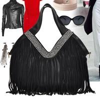 Women's handbag nubuck cowhide tassel bag diamond one shoulder cross-body casual