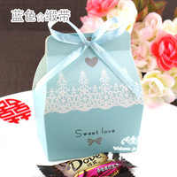 Blue Wedding DIY Box With Ribbon Favour Free Shipping Wedding Box