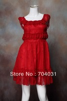 Stunning Party Dresses Red Lace with ruffle neck and waist short 010