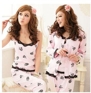 Free shipping sleepwear women's long-sleeve rose 3 pieces set sleepwear,warm sexy pajamas,lovely cotton nightwear