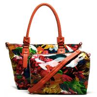 National trend bags 2013 patent leather women's handbag oil painting flower package bag portable one shoulder mother bag