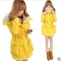 Free shipping Princess large fur collar candy bright yellow plus velvet drawstring cotton-padded jacket outerwear wadded jacket