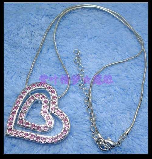 66 end of a single duplexed heart rhinestone full rhinestone necklace ol necklace(China (Mainland))