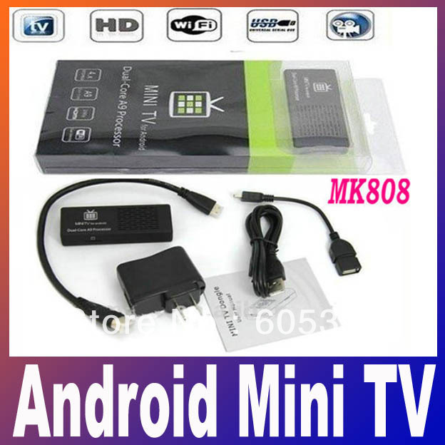 Holiday Sale MK808 Android Mini PC TV Box Dual Core Rockchip RK3066 1.6Ghz 1G RAM 8GB WiFi HDMI Dongle Free Shipping(China (Mainland))