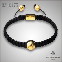 Black thread 18K gold beads with flower-de-luce marded fashion bracelet