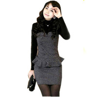 Free Shipping 2012 autumn fashion the appendtiff faux two piece woolen turtleneck slim hip slim one-piece dress Women