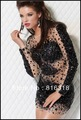 Free Shipping 2013 Exclusive Design Sheath Long Sleeve Beaded Chiffon Hot Sexy Mini Cocktail Dress 100% Guarantee Satisfaction