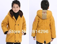 Free   shipping    Boy's new coltsfoot double breasted add wool cotton-padded clothes to keep warm
