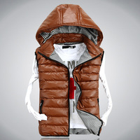Free shipping Men's spring and winter leather fabric lovers winter vest winter overcoat outerwear detachable cap