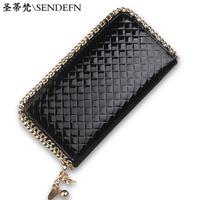 2014 wallet female long design women's zipper wallet clutch japanned leather women's wallet