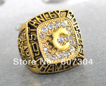 Free shipping 1pc gold 1989 Calgary Flames Stanley cup champions ring replica(China (Mainland))