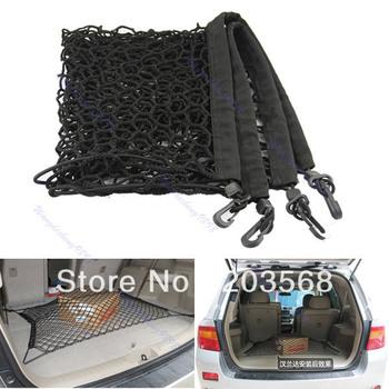 D19+Black Rear Trunk Vehicle Elastic Storage Mesh Cargo Net 4 Hook For 2013 Honda CRV CR-V