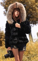 (Black&Orange)100% Genuine Real Rabbit Fur Jacket Big Raccoon Collar Winter Coats For Women&Ladies,Free Shipping