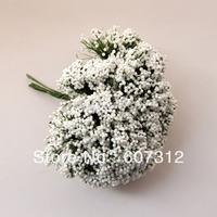 144pcs / lot  White  foam leeks flower  with wire stem/  decoration handmade flower  free shipping FE-38