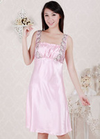 2012 nightgown pink soft viscose dress 1113020 free shipping