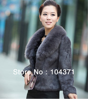 (#11-VA0803)free shipping women's/lady's Rabbit fur coat with big Fox fur collar/rabbit fur jacket/winter coat/fox fur coat