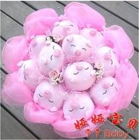 Sweet cartoon flower bouquet, 11pcs sleepy pig,  free shipping Valentines day gift G47-4