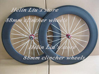 Hot best price 700C carbon wheels 88mm clincher with red hub,white spoke and red nipple