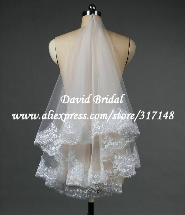 Free Shipping B100 Appliques Lace Edge Tulle Mantilla Bridal Wedding Veils and Accessaries(China (Mainland))