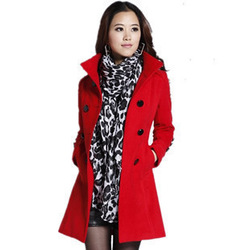 Autumn and winter overcoat stand collar double breasted elegant slim woolen outerwear(China (Mainland))