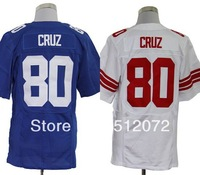 #80 Victor Cruz Men's Elite Team Blue Football Jersey