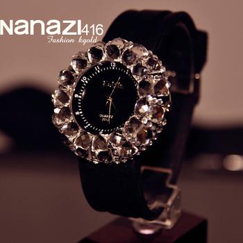 Drop shipping 2014 top popular style Fashion Women's Crystal Watches Quartz Women Clock Rhinestone Wristwatches For Dress