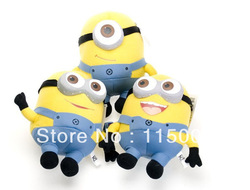 "2012 brand new hot selling Despicable ME Movie Plush Toy 10"" Minion Jorge Stewart Dave NWT with tags set 3pc(China (Mainland))"