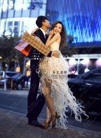 2014 new fashion champagne chiffon for women, silk dresses, wedding dress, European style, free shipping.