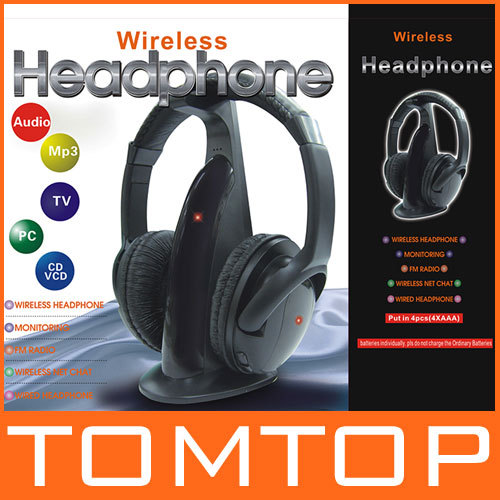 Multifunction 5 in 1 HiFi Wireless Headphone Earphone Headset Wireless Monitor FM Radio MP3 PC TV Audio Phones Free Shipping(China (Mainland))